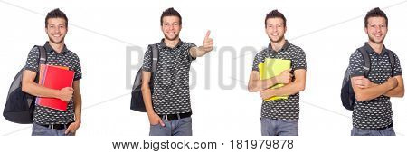 Young student with book and backpack on white