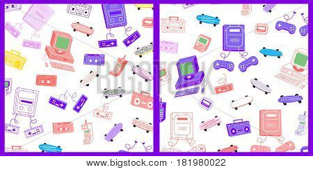Set of backgrounds of objects in the style of the 80's 90's on a white background