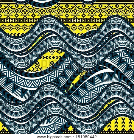 Sea wave background. Ethnic seamless pattern ornament, abstract geometric shapes, blue and yellow colors. Tribal motives. Vector illustration.