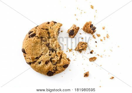 Chocolate chip cookies and crumbs isolated on white background.Top view
