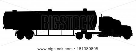A large fuel truck in silhouette over a white background