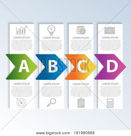 Vector Illustration. Template With 4 Colored Geometric Shapes Rectangles With Arrows For Infographic
