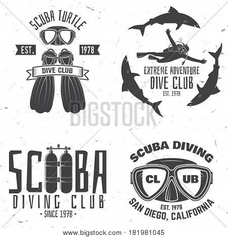 Scuba diving club. Vector illustration. Concept for shirt or logo, print, stamp or tee. Vintage typography design with diving gear silhouette.