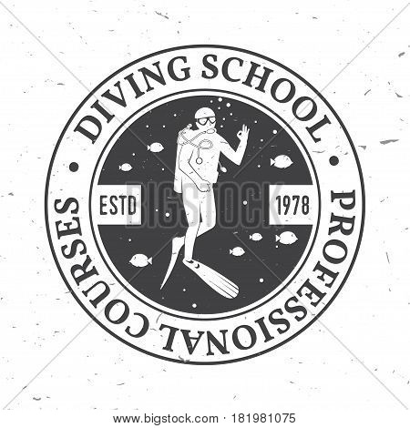 Diving school, Professional Courses . Vector illustration. Concept for shirt or logo, print, stamp or tee. Vintage typography design with diver silhouette.