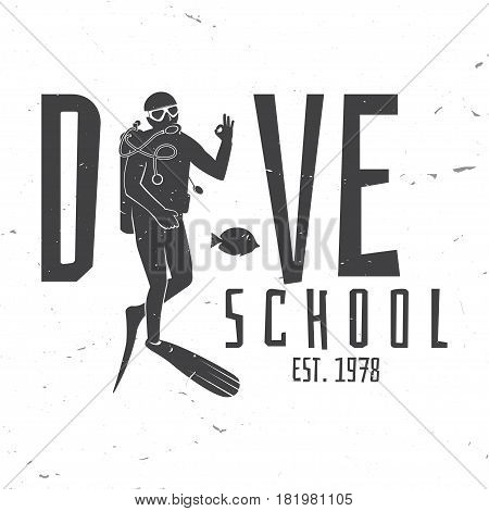 Dive school. Vector illustration. Concept for shirt or logo, print, stamp or tee. Vintage typography design with diver silhouette.