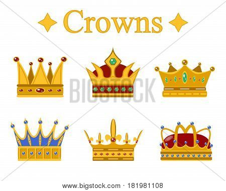 Set of gold king crown or pope tiara.Vector illustration.