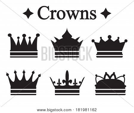 Set of silhouettes king crown or pope tiara.Vector illustration.