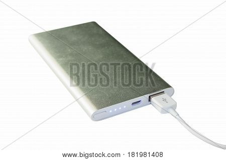 Portable external power bank isolated on white background. for emergency recharge usb port business and human interface.