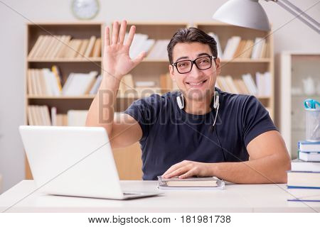 Young freelance worked working on computer