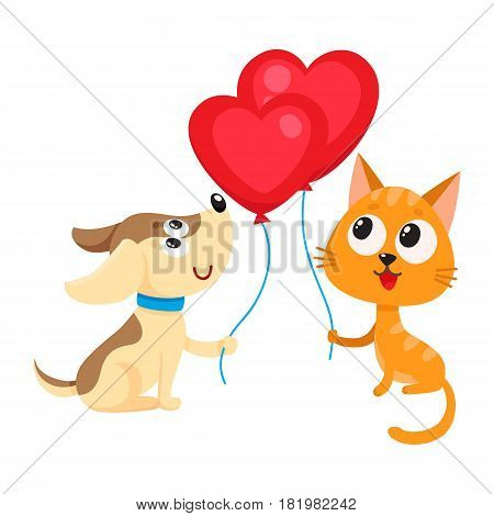 Cute and funny dog and cat holding red heart shaped balloon, cartoon vector illustration isolated on white background. Puppy and kitten holding heart balloon, birthday greeting decoration elements