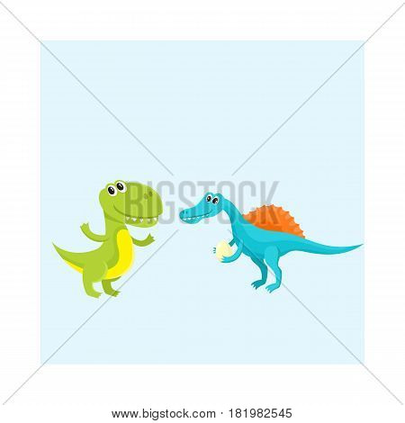 Two cute and funny baby dinosaur characters - spinosaurus and tyrannosaurus, cartoon vector illustration isolated on white background. Happy smiling spinosaurus and T-rex dinosaur characters