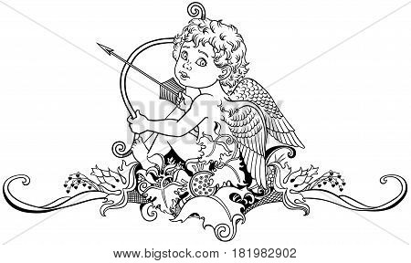 cartoon little angel cupid sitting on floral ornament and holding a bow with arrow. Black and white outline vector