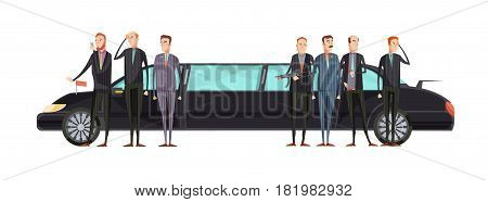 Intelligence agency flat composition with special services workers stand near representative limousine vector illustration