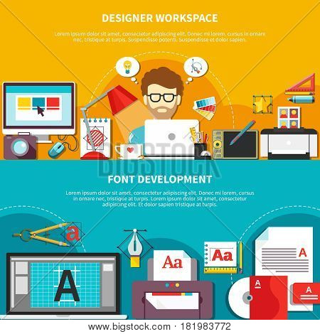 Two flat designer tools composition set with designer workplace and font development descriptions vector illustration