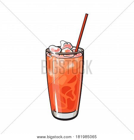 Tall glass full of freshly squeezed cold grapefruit juice with ice and straw, sketch style vector illustration on white background. Hand drawn glass of grapefruit juice with ice