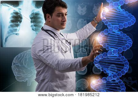 Scientist studying human DNA in lab