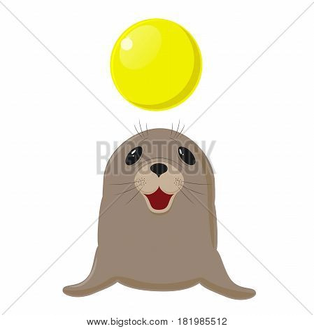 Fur seal. Circus show with animals. Sea dog plays with a yellow ball. on white