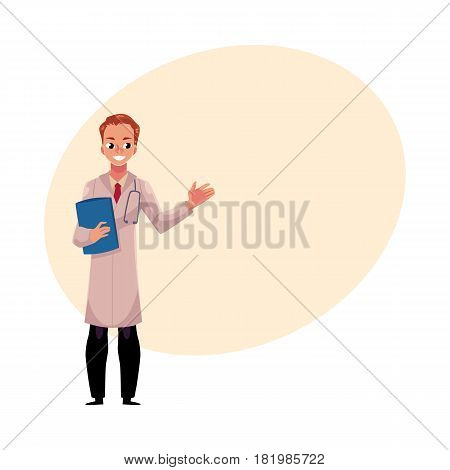 Male, man doctor in white medical coat holding stethoscope and document folder with one hand raised, cartoon vector illustration with space for text. Full length portrait of male, man doctor