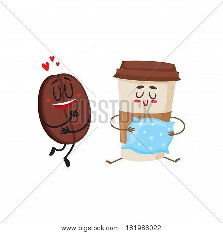 Funny characters of coffee bean showing love and glass holding a pillow, cartoon vector illustration isolated on white background. Coffee bean and espresso cup characters, mascots, coffee love