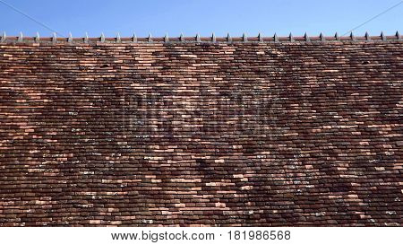Rural French roof with ancient terracotta tiles