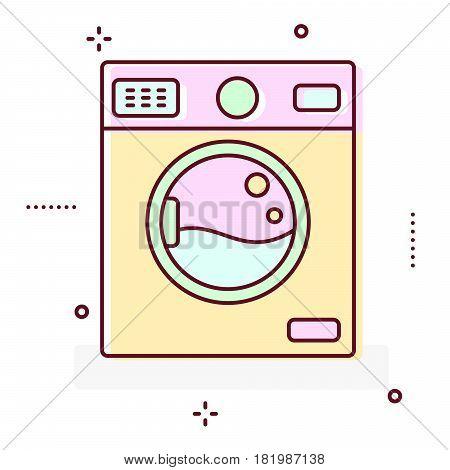 Washing machine line style vector icon illustration.