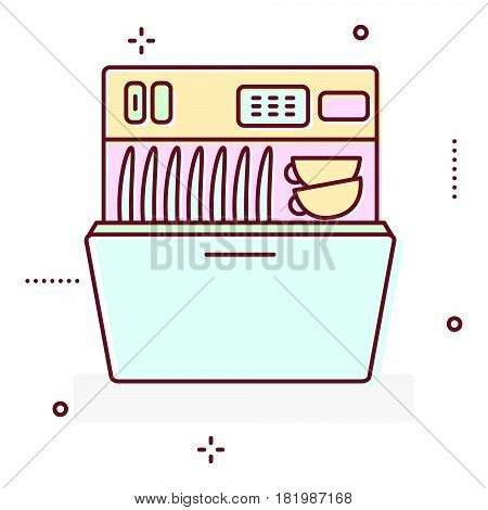 Washing machine line style vector icon illustration.