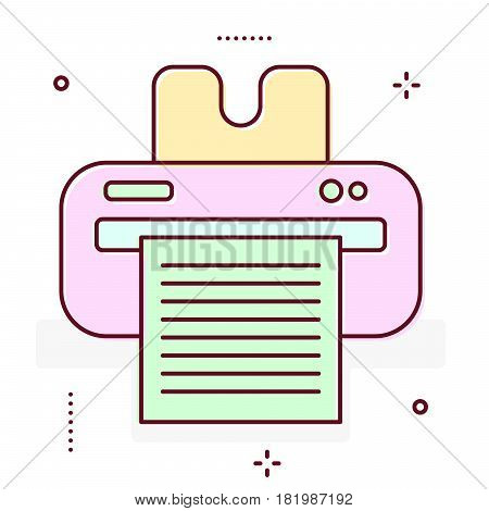 Printer line vector icon. Fax laserjet office machine.