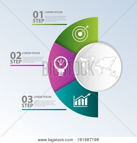 Vector Illustration. Template With Circle Divided Into Half And Three Parts For Infographics, Busine