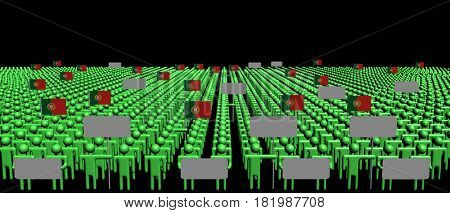 Crowd of people with signs and Portuguese flags 3d illustration