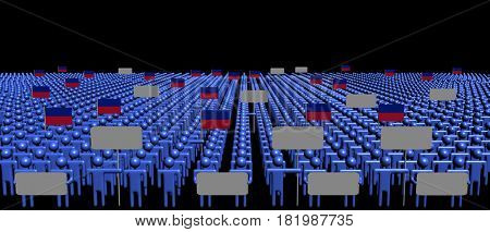 Crowd of people with signs and Haitian flags 3d illustration