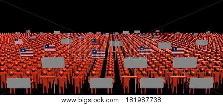 Crowd of people with signs and Liberian flags 3d illustration