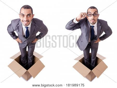 Man in thinking outside the box concept
