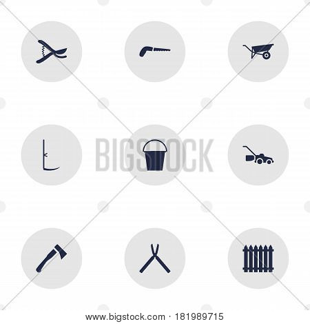 Set Of 9 Horticulture Icons Set.Collection Of Bucket, Axe, Wheelbarrow And Other Elements.