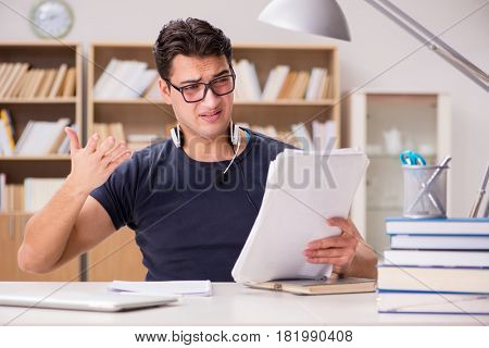 Unhappy student with too much to study