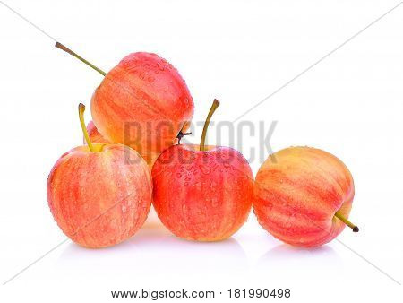 Dwarf Apple with drops of water isolated on white background