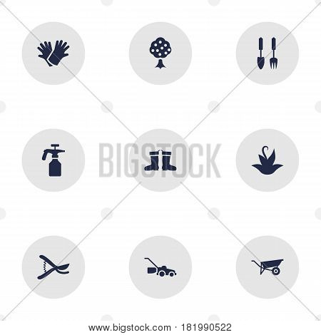Set Of 9 Horticulture Icons Set.Collection Of Spray Bootle, Garden, Lawn Mower And Other Elements.
