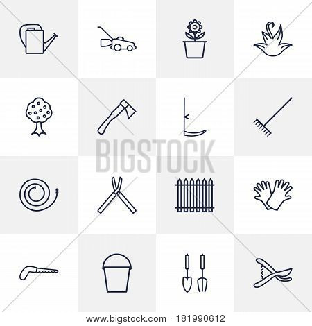 Set Of 16 Horticulture Outline Icons Set.Collection Of Firehose, Shears, Hatchet And Other Elements.