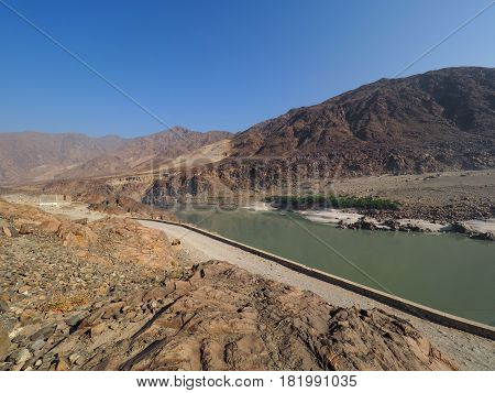 Landscape Of Indus River in Northern Pakistan