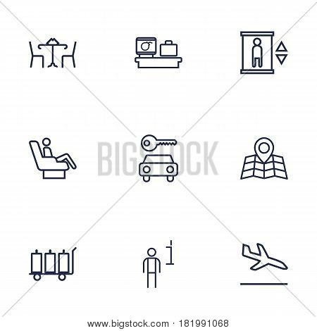 Set Of 9 Airplane Outline Icons Set.Collection Of Sit, Luggage Trolley, Luggage Check And Other Elements.