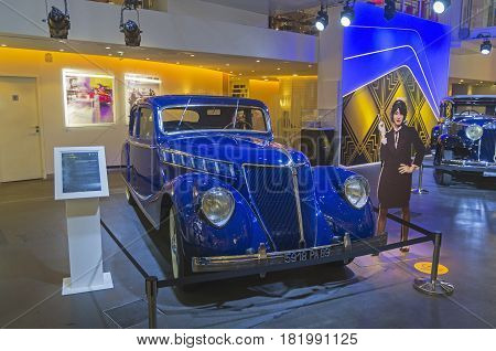 PARIS FRANCE - APRIL 1 2017: Renault Motor Show on the Champs Elysees. Renault Nerva Grand Sport manufactured at 1937.