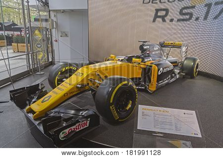 PARIS FRANCE - APRIL 1 2017: Renault Motor Show on the Champs Elysees. Renault R.S.17 racing car.