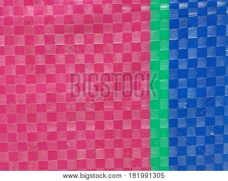 Blur Sack color stripe background surface, summer color layer, color chessboard grid, pink green and navy blue, majority pink on left side
