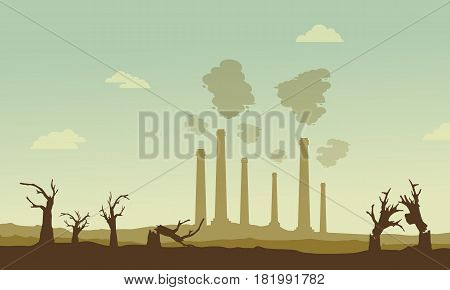 Silhouette of industry and broken forest vetcor illustration