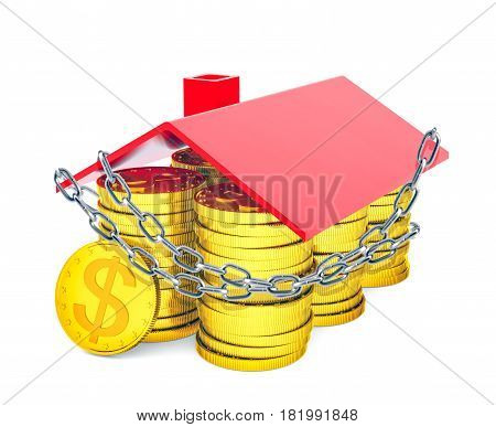 A house built of gold dollars with a red roof is entangled in a metal chain. The concept of protection. 3D rendering