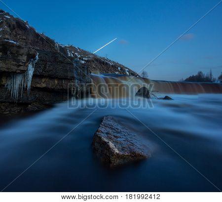 twilight falls on Tosnenskiy, Leningrad oblast ,Russia