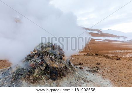 Hverir (Hverarond), the geothermal area, is a popular tourist attraction at  Lake Myvatn, Krafla northeastern region of Iceland, Europe. poster