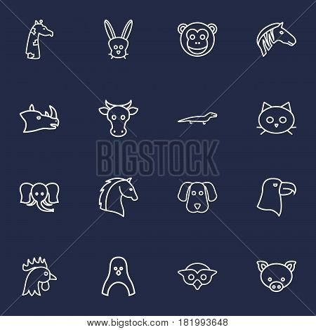 Set Of 16 Brute Outline Icons Set.Collection Of Penguin, Cock, Rhino And Other Elements.