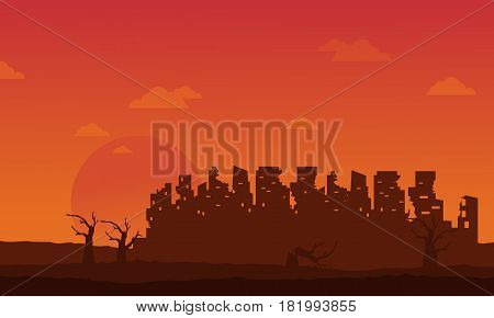 Bad environment with broken city landscape vector illustration