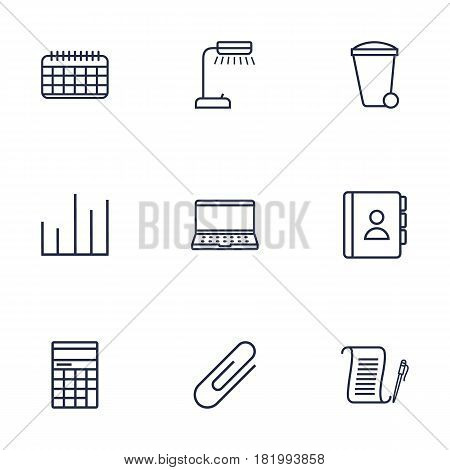 Set Of 9 Work Outline Icons Set.Collection Of Date, Recycle Bin, Notebook And Other Elements.