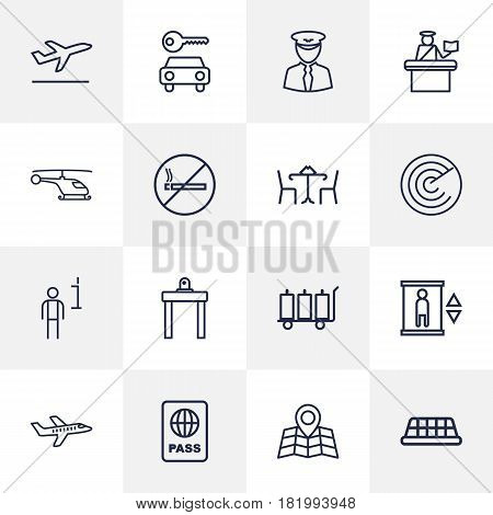 Set Of 16 Aircraft Outline Icons Set.Collection Of Pilot, Cafe, Data And Other Elements.